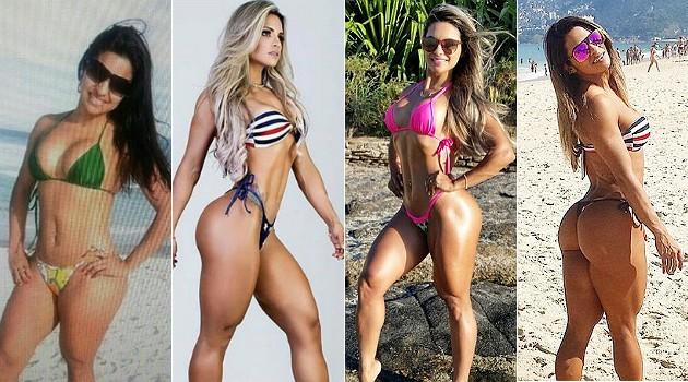 """Aline Barreto antes, à esquerda, e depois, quando passou a treinar """"sério"""" e a fazer dieta"""